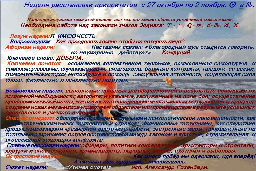 Астрологический прогноз на 27 октября- 2 ноября 2014 года