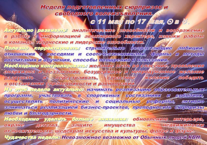 Астрологический прогноз  на 11мая—17 мая 2015 года
